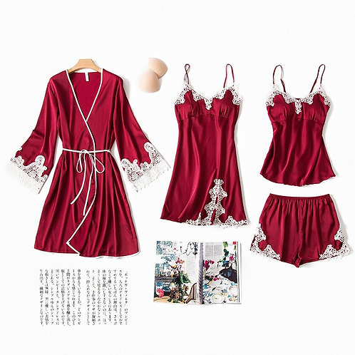 Summer Sexy Spaghetti Strap Robe Pajamas