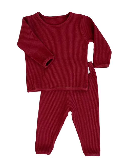 Claret Red ribbed Loungewear