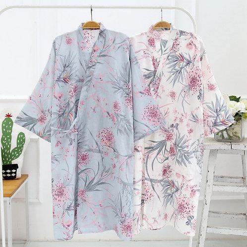 Cotton Robes for Women Floral Spa Robe Yukata