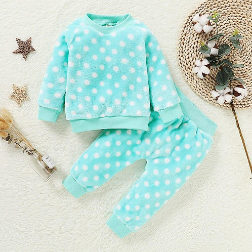 Children Pajamas 2pcs Long Sleeve Flannel Kids Sleepwear Baby Girl