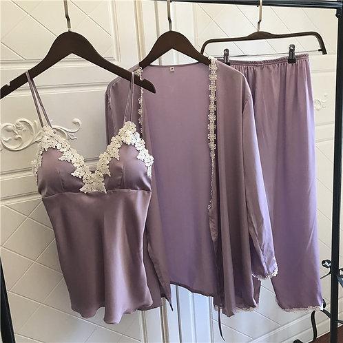 Satin Pyjamas Women 3Pieces Pajamas for Women 2019