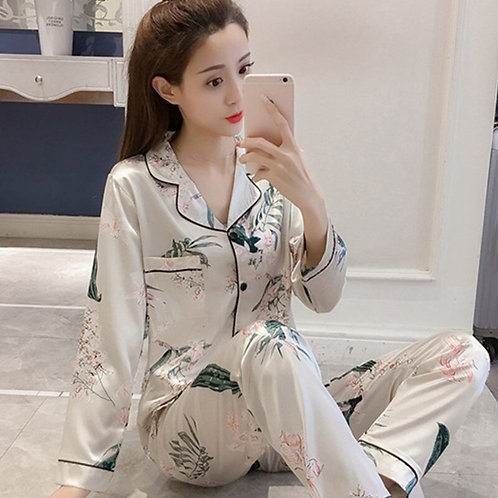 Summer New Sexy Satin Pajamas Long Sleeve