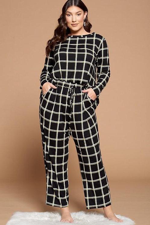 Plus Size Grid Print Pajama Set