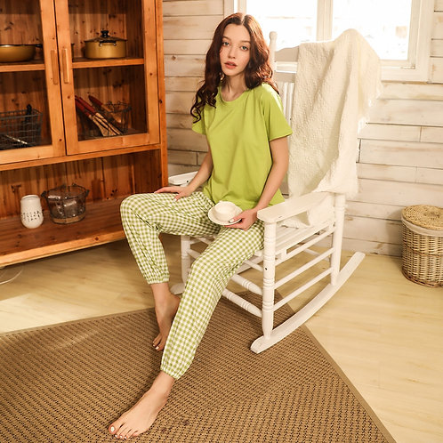 Solid Tee & Gingham Pants PJ Set