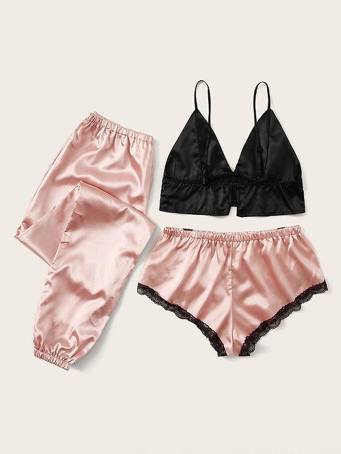 Satin Bralette With Lace Trim Shorts & Pants