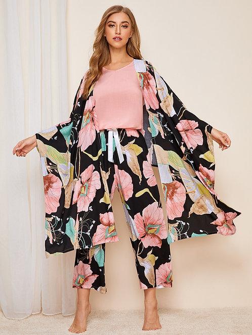4pcs Floral Print Pajama Set With Robe