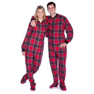 Adult Footed Onesie Pajamas Red Black Plaid Men & Women