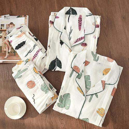 Cotton Women Pajamas Sets Gauze Sleepwear