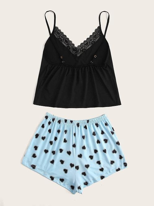 Contrast Lace Heart Print Cami PJ Set