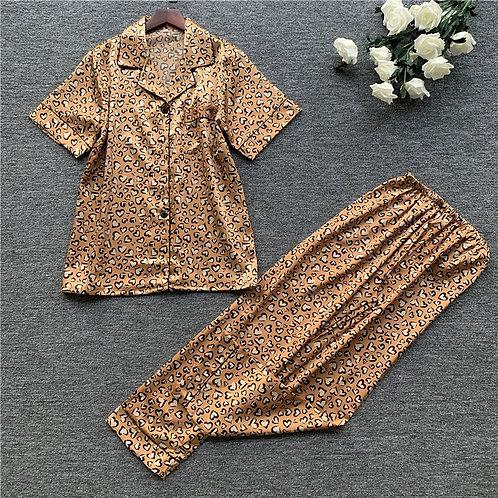 Women Satin Pajamas Set Leopard Print Pyjama