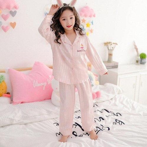 Child Kids Pyjamas Silky Satin Tops Pants Spring Long Sleeve Sleepwear