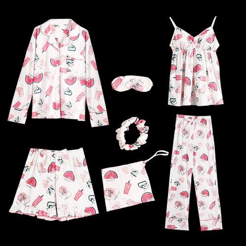 Pyjamas Women 7 Piece 2019 New Pajama Set
