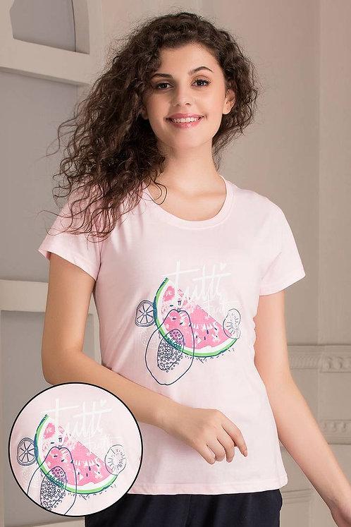 Clovia Cotton Rich Fruit Printed T-Shirt