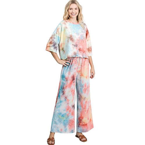 Tie Dye Loungewear Set (Aqua/Coral)