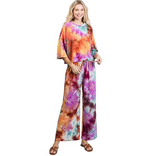Tie Dye Loungewear Set (Magenta/Orange)
