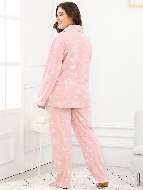 Plus Plant Print Pajama Set