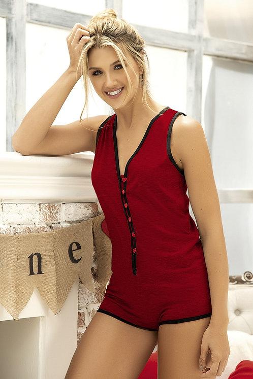 Mite Love Women Pajamas Jumpsuit Claret Red
