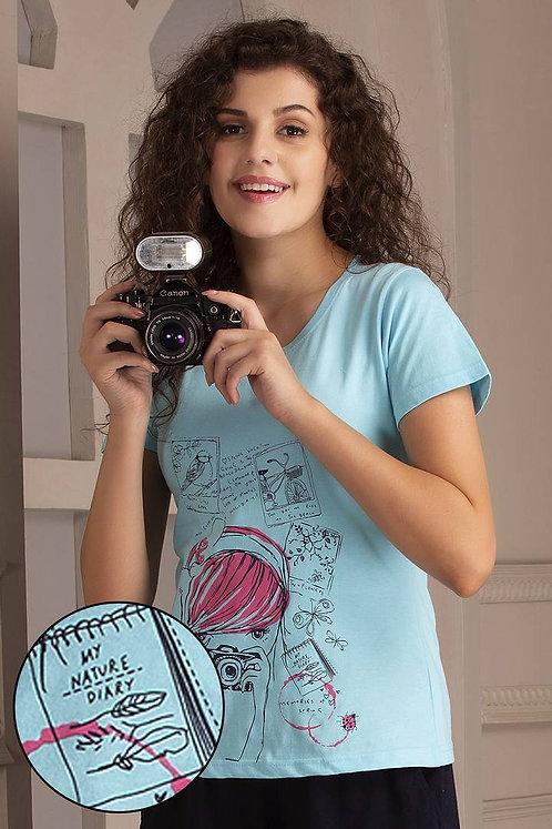 Clovia Print Me Pretty T-Shirt In Light Blue- Cotton
