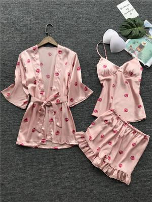 Pajamas women's summer thin section ice silk sling shorts robe