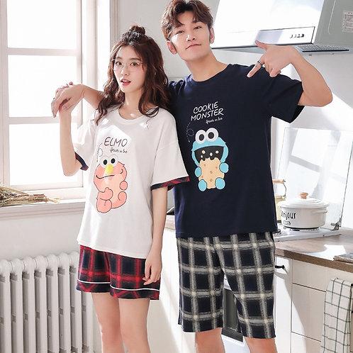 Summer Couple Pajamas Cartoon Print Cute