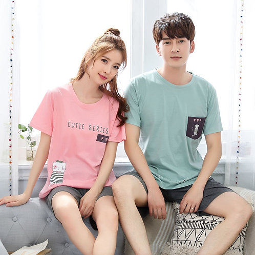 Couple Pajamas Summer Short Sleeve Sleepwear