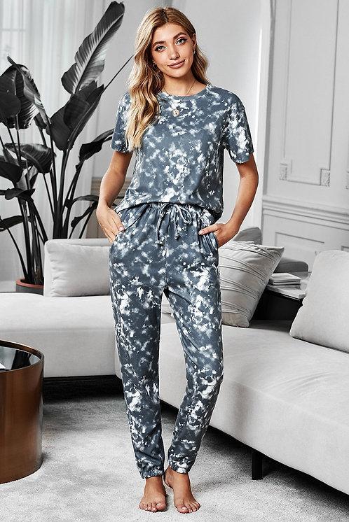 Gray Tie-dye Short Sleeve T-shirt Pants Pajama Set