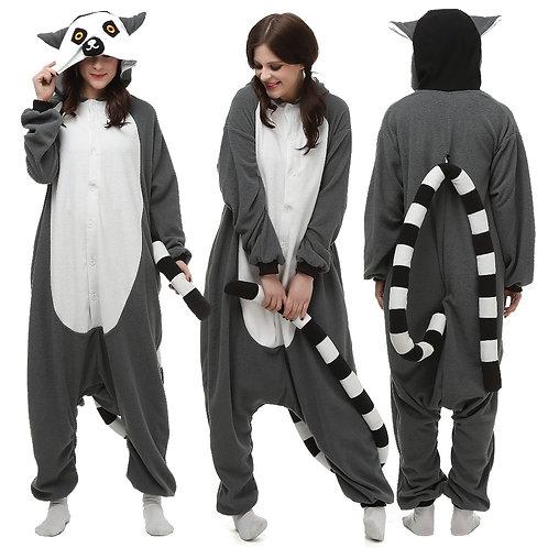 Animal Lemur Kigurumi Onesie Unsiex Adult Pijama