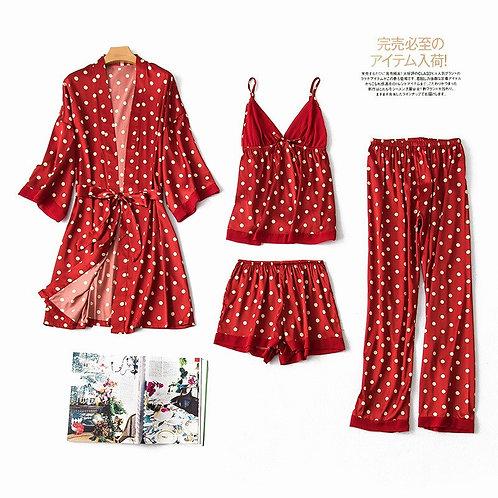 Summer New Dots Print Satin Pajamas