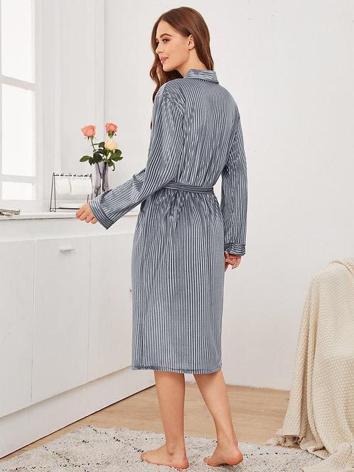 Solid Belted Velvet Robe