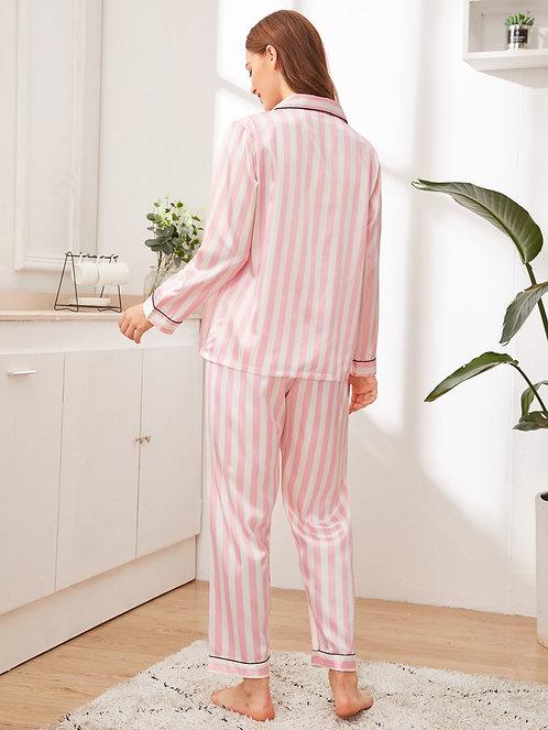 Striped Button-up Satin PJ Set