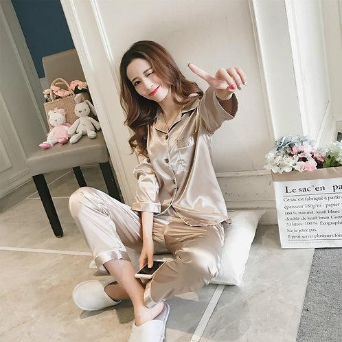 Women Satin Silk Pajamas Sets Pijama Turn-Down