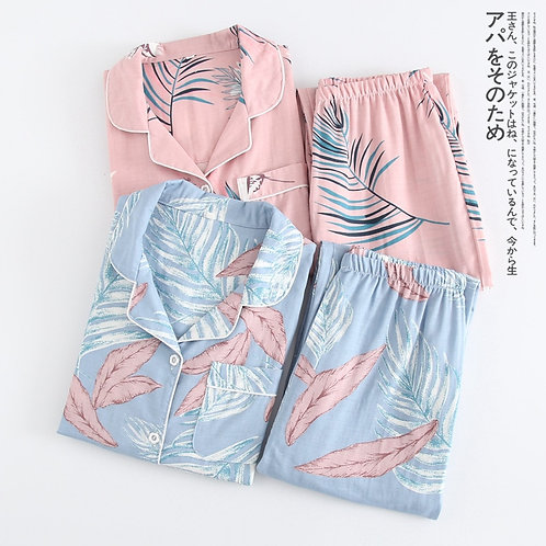 Cotton Women Pajamas Thin Gauze Sleepwaer