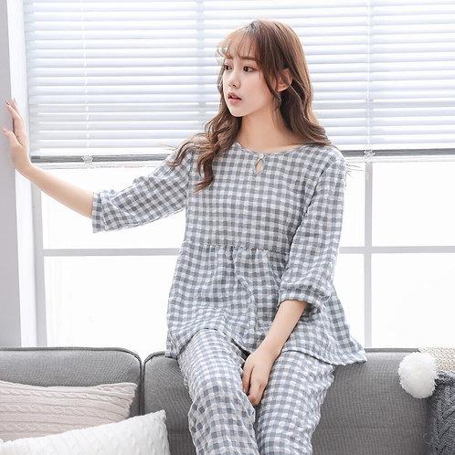 Pajama Cotton Women Lattice Pijamas Femme