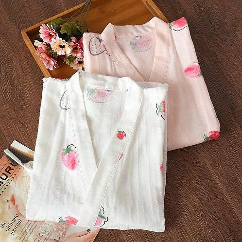 Ladies cotton pajamas set spring summer autumn double layer cotton