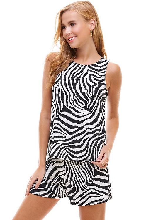 Loungewear set Zebra print sleeveless top and short