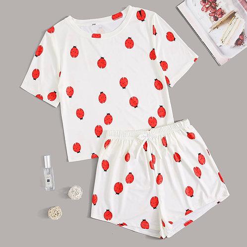 Ladybug Print Tee & Shorts PJ Set