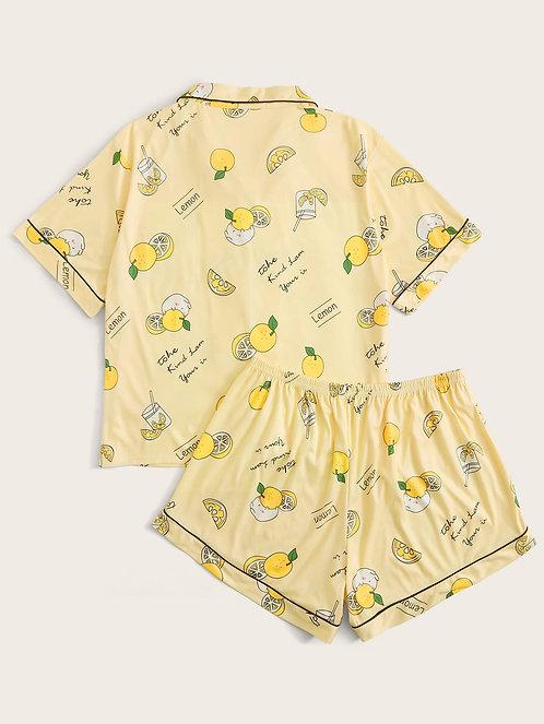 Plus Lemon Print Lapel Collar PJ Set