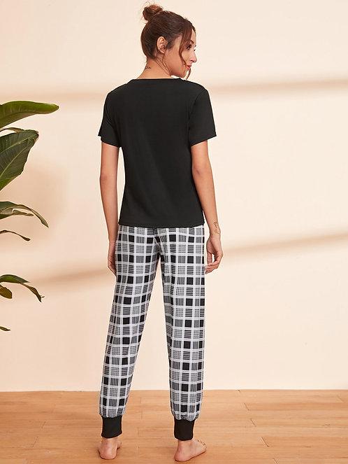 Letter Graphic Tee & Plaid Pants PJ Set