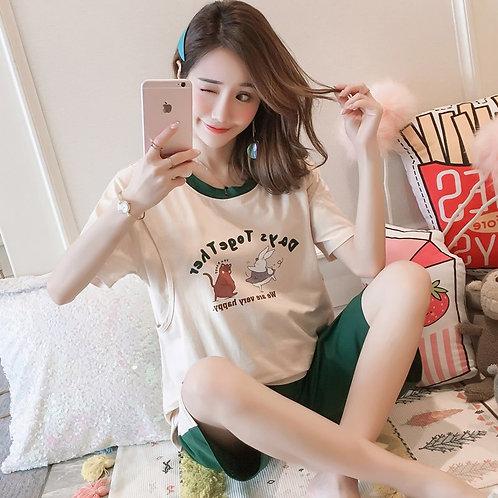 Short Sleeve Pajamas Women Small Fresh Print