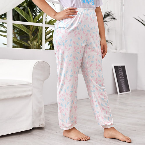 Plus Allover Umbrella Print Tapered Sleep Pants