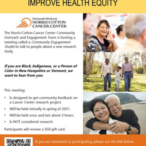 Paid Community Feedback Study re: Dartmouth/Hitchcock Cancer Center seeks BIPOC participants