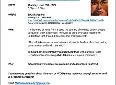 Nashua Community Conversation on Race and Justice (NCCRJ) meeting, 6/25/20