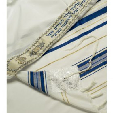 TAllit Acrylic Tallit Imitation Wool Prayer Shawl - Blue & Gold Stripes