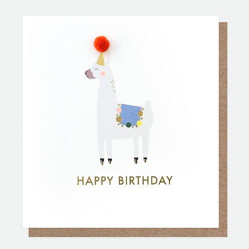 Mini Poms Llama Birthday Card
