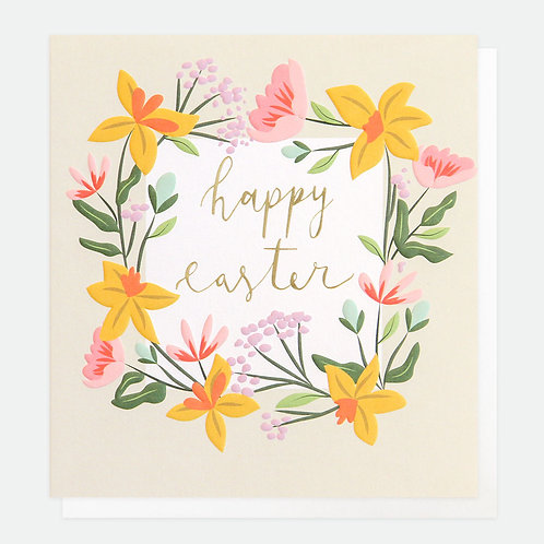 Floral Garland Happy Easter Card