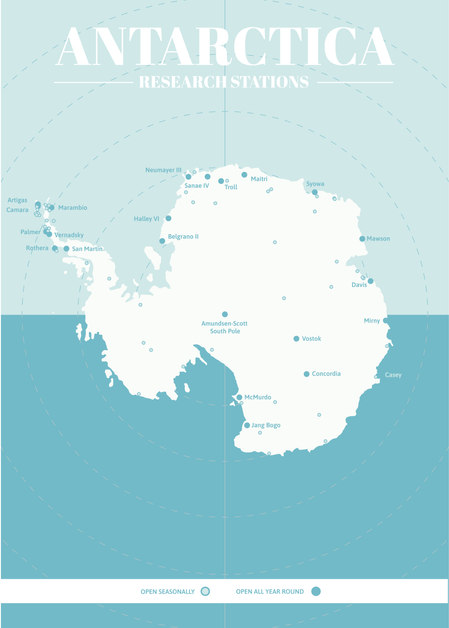Antarctica Research Base Map