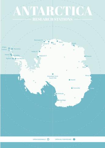 Antarctica Research Base Map