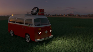 Van on Grass