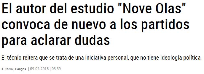 """El autor del estudio """"Nove Olas"""" convoca de nuevo a los partidos para aclarar dudas"""