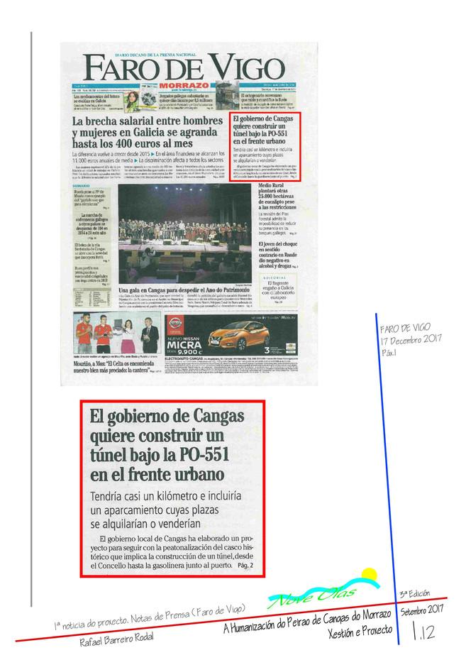 El gobierno de Cangas quiere construir un túnel bajo la PO-551 en el frente urbano
